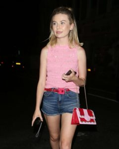 Georgia Toffolo in Jeans Shorts – Night out in London