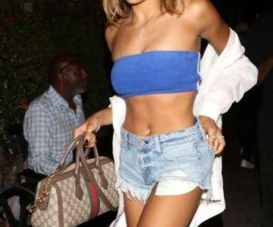Tinashe in Denim Shorts and Blue Top at Delilah Nightclub in Los Angeles