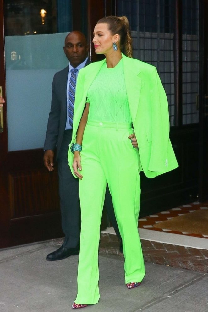 Blake Lively in Neon Green Suit at Spring Studios in New York City