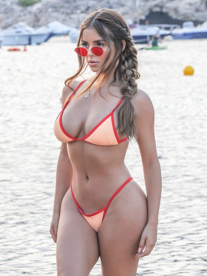 Demi Rose in Tiny Bikini at the beach in Ibiza