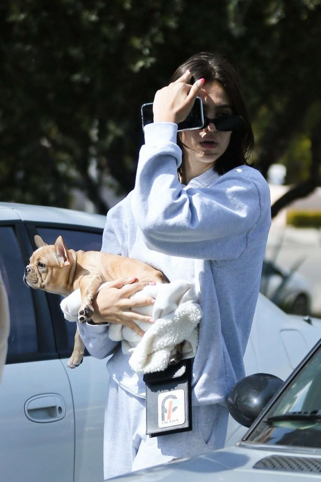 Amelia Hamlin with her dog in Beverly Hills