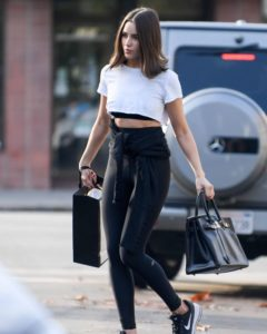 Olivia Culpo in Tights and Crop Top