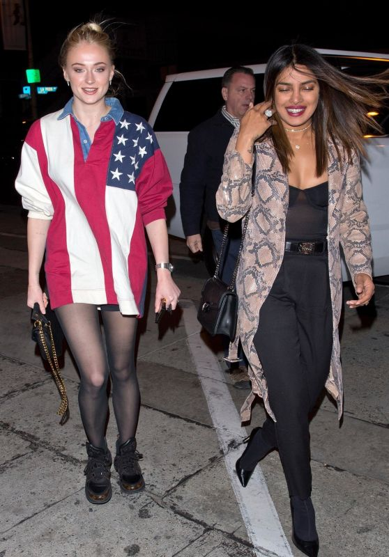 Priyanka Chopra and Sophie Turner Night Out Style - Craig's in LA
